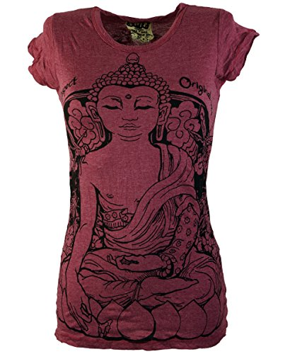 Guru-Shop Sure T-Shirt Meditation Buddha, Damen, Bordea...